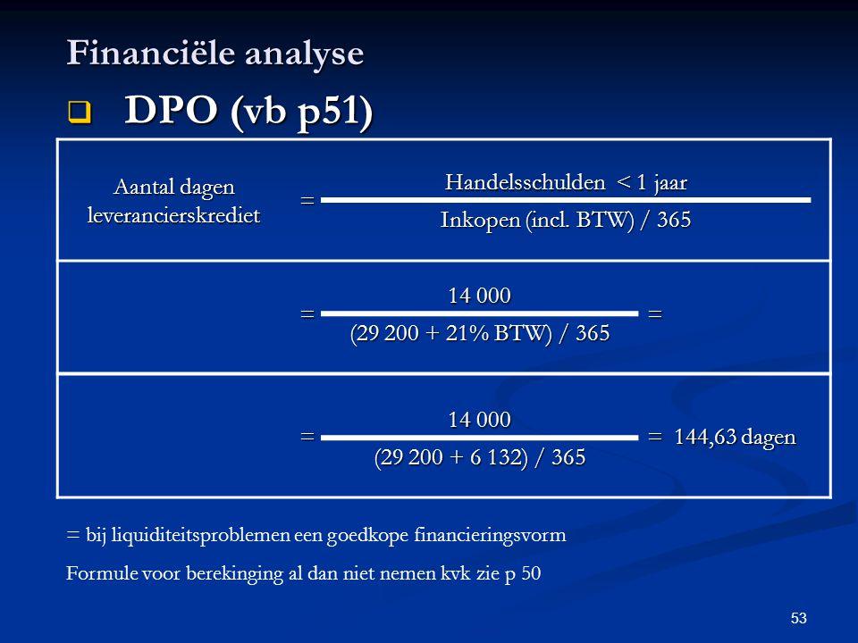 53 Financiële analyse  DPO (vb p51) Aantal dagen leverancierskrediet = Handelsschulden < 1 jaar Inkopen (incl. BTW) / 365 = 14 000 = (29 200 + 21% BT