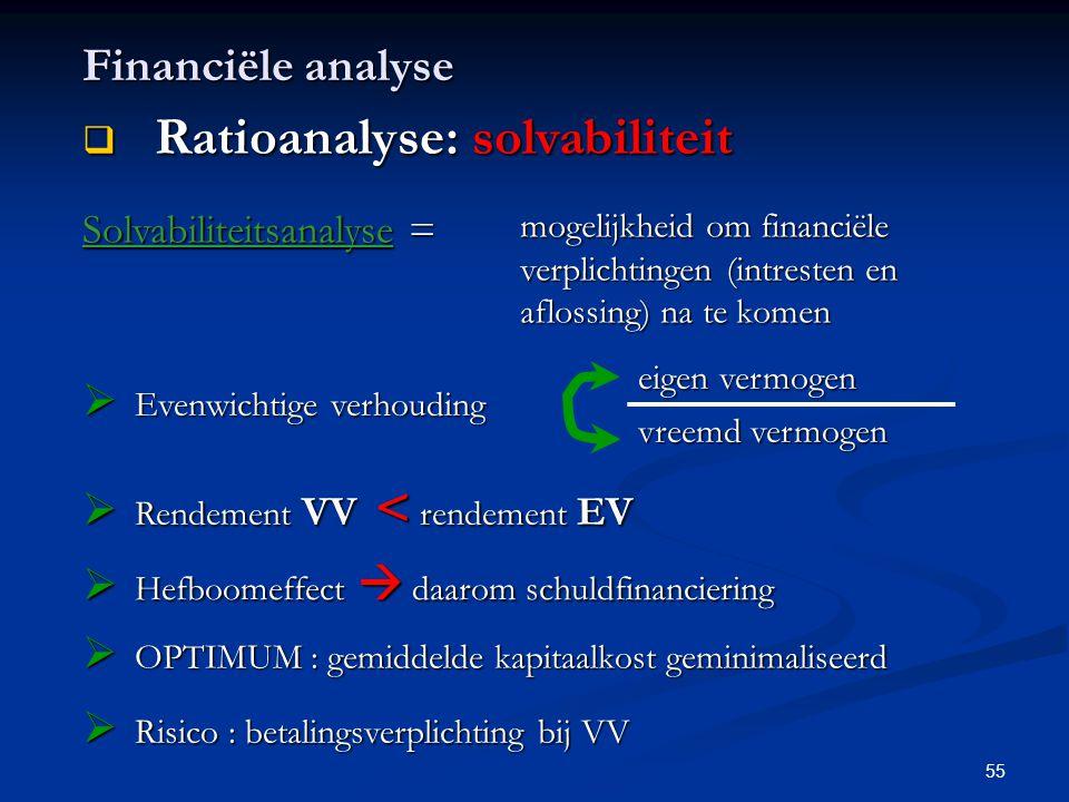 55 Financiële analyse  Ratioanalyse: solvabiliteit Solvabiliteitsanalyse = mogelijkheid om financiële verplichtingen (intresten en aflossing) na te k