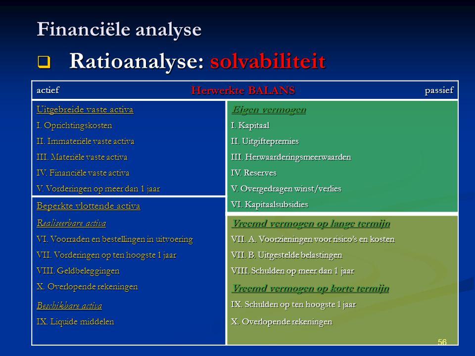 56 Financiële analyse  Ratioanalyse: solvabiliteit actief Herwerkte BALANS passief Uitgebreide vaste activa Eigen vermogen I. Oprichtingskosten I. Ka