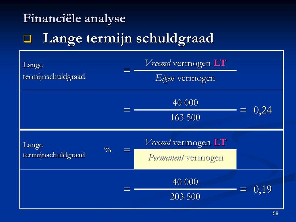 59 Financiële analyse  Lange termijn schuldgraad Langetermijnschuldgraad= Vreemd vermogen LT Eigen vermogen = 40 000 =0,24 163 500 Lange termijnschul