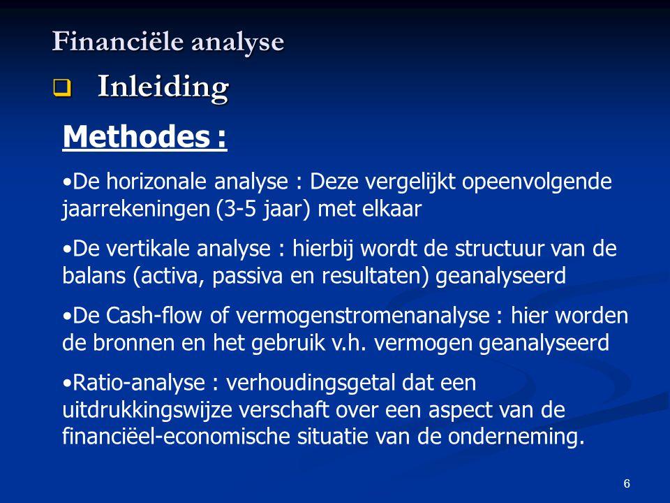 6 Financiële analyse  Inleiding Methodes : •De horizonale analyse : Deze vergelijkt opeenvolgende jaarrekeningen (3-5 jaar) met elkaar •De vertikale
