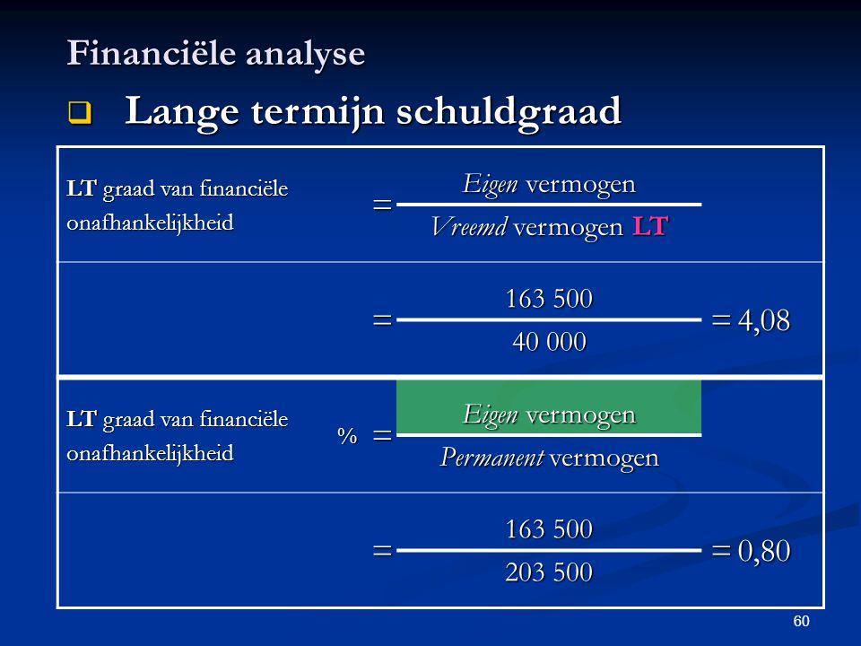 60 Financiële analyse  Lange termijn schuldgraad LT graad van financiële onafhankelijkheid= Eigen vermogen Vreemd vermogen LT = 163 500 =4,08 40 000