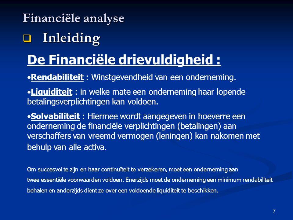 7 Financiële analyse  Inleiding De Financiële drievuldigheid : •Rendabiliteit : Winstgevendheid van een onderneming. •Liquiditeit : in welke mate een