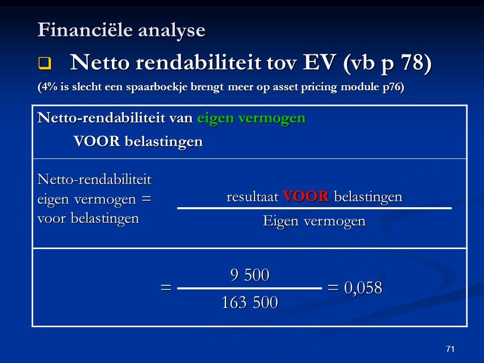 71 Financiële analyse  Netto rendabiliteit tov EV (vb p 78) (4% is slecht een spaarboekje brengt meer op asset pricing module p76) Netto-rendabilitei