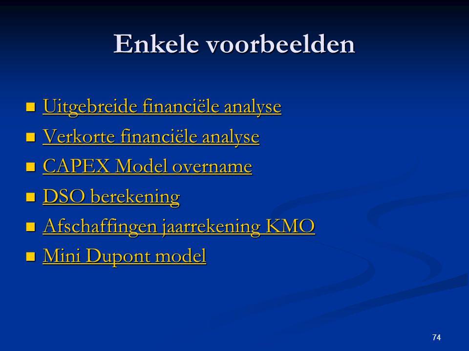 74 Enkele voorbeelden  Uitgebreide financiële analyse Uitgebreide financiële analyse Uitgebreide financiële analyse  Verkorte financiële analyse Ver