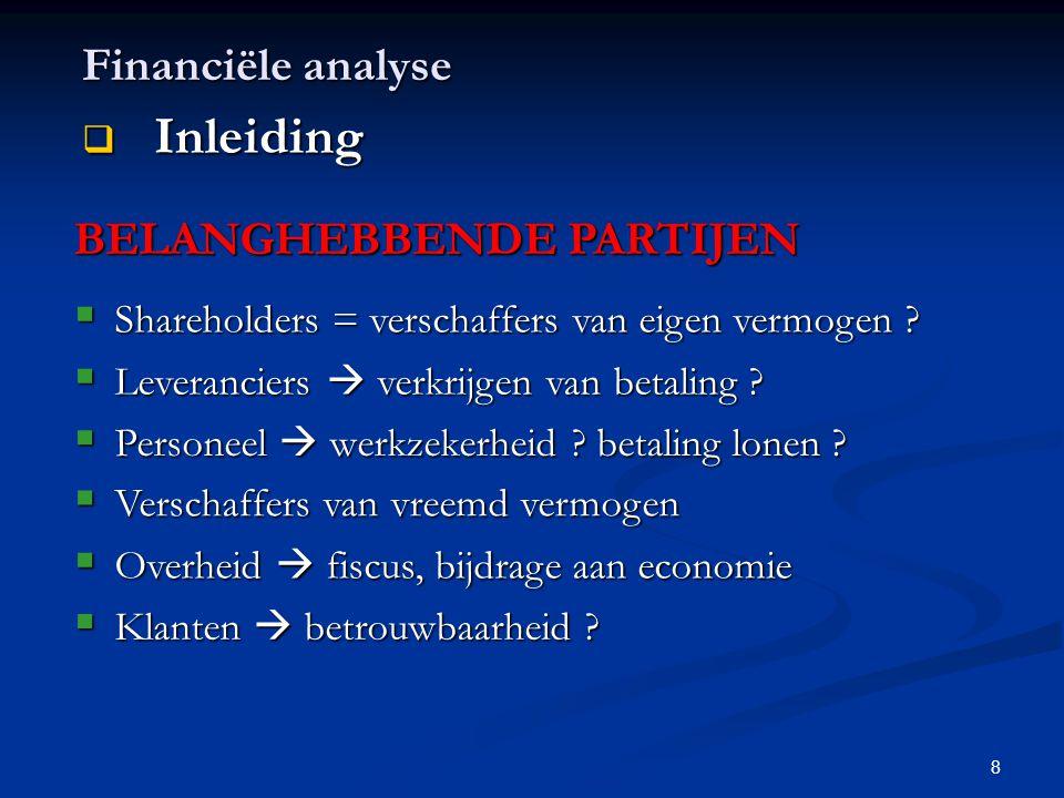 8 Financiële analyse  Inleiding BELANGHEBBENDE PARTIJEN  Shareholders = verschaffers van eigen vermogen ?  Leveranciers  verkrijgen van betaling ?