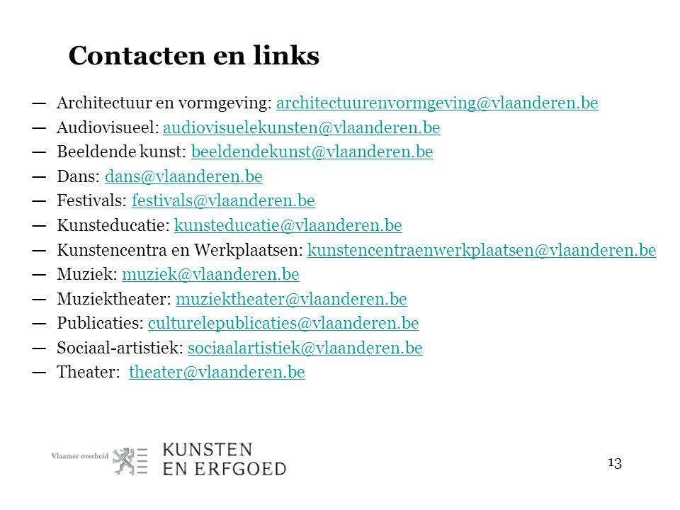 13 Contacten en links — Architectuur en vormgeving: architectuurenvormgeving@vlaanderen.bearchitectuurenvormgeving@vlaanderen.be — Audiovisueel: audio
