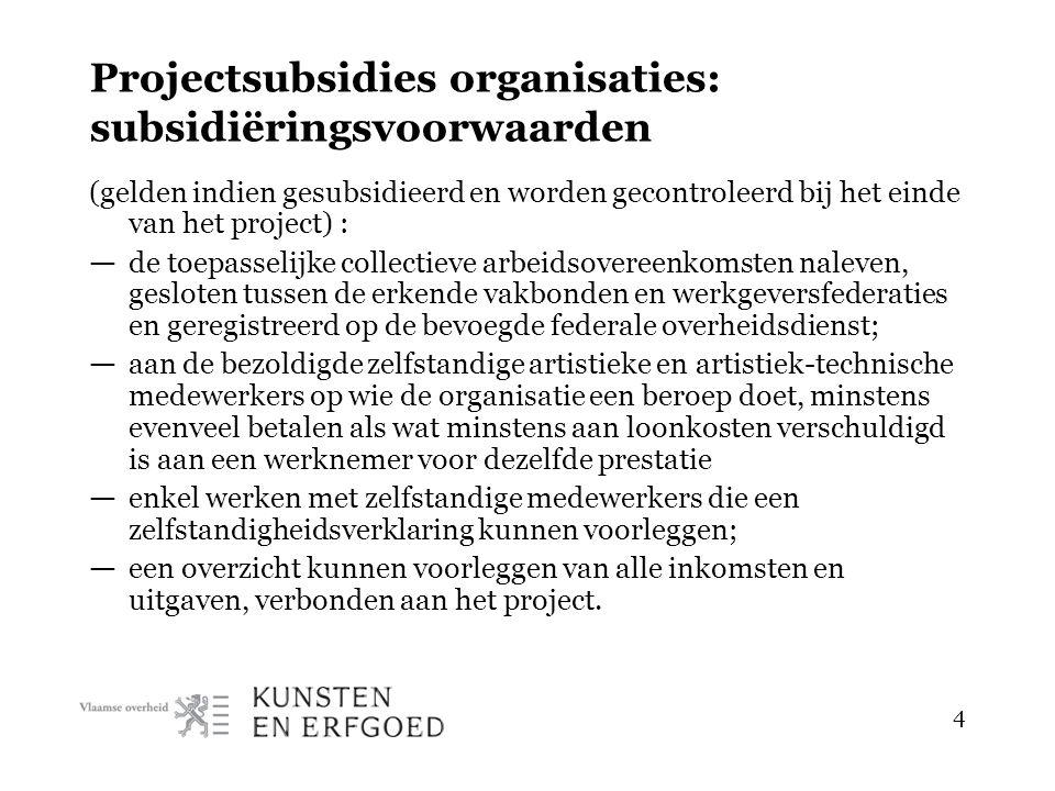 4 Projectsubsidies organisaties: subsidiëringsvoorwaarden (gelden indien gesubsidieerd en worden gecontroleerd bij het einde van het project) : — de t