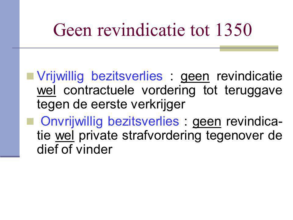 Geen revindicatie tot 1350  Vrijwillig bezitsverlies : geen revindicatie wel contractuele vordering tot teruggave tegen de eerste verkrijger  Onvrij
