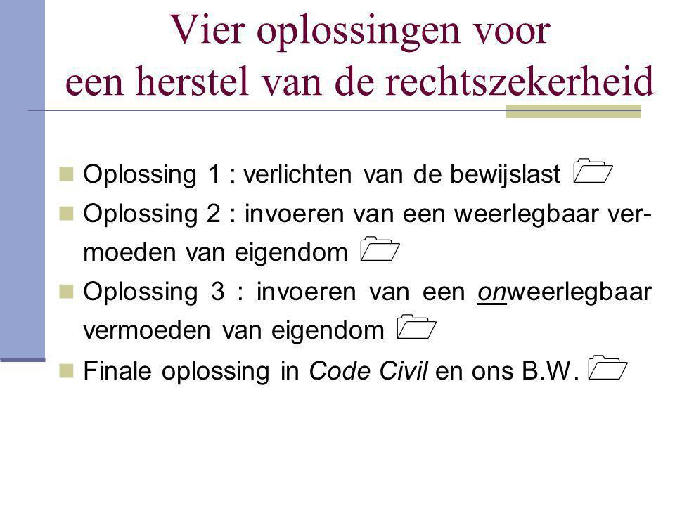 Vier oplossingen voor een herstel van de rechtszekerheid  Oplossing 1 : verlichten van de bewijslast   Oplossing 2 : invoeren van een weerlegbaar v