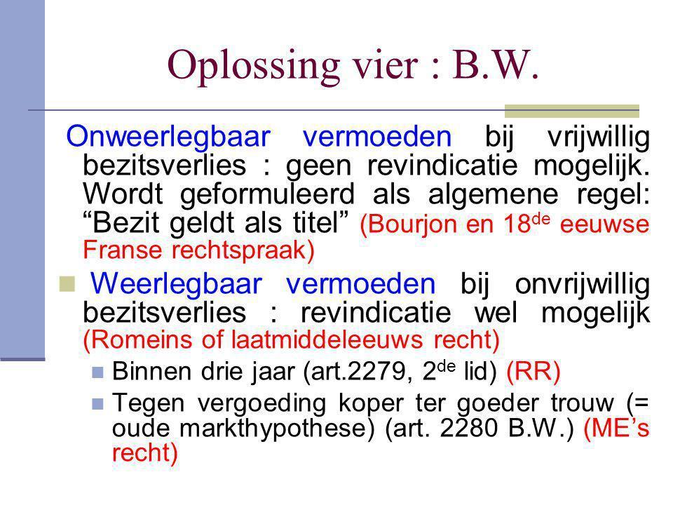 """Oplossing vier : B.W. Onweerlegbaar vermoeden bij vrijwillig bezitsverlies : geen revindicatie mogelijk. Wordt geformuleerd als algemene regel: """"Bezit"""