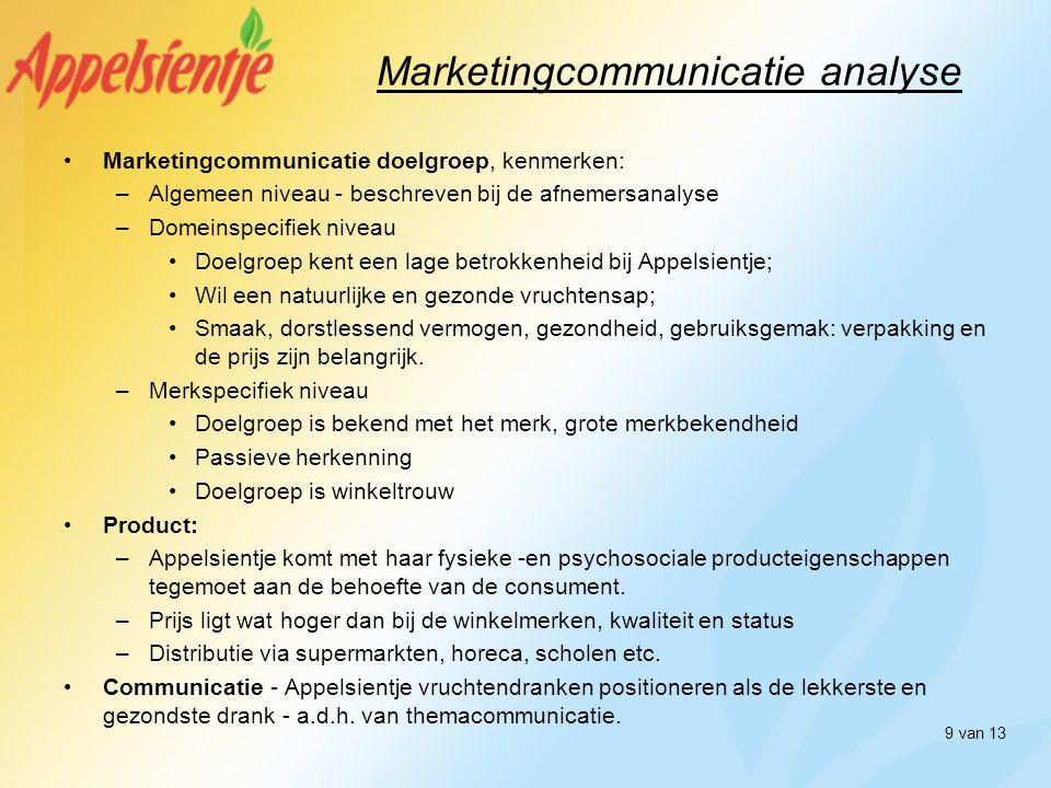 9 van 13 Marketingcommunicatie analyse •Marketingcommunicatie doelgroep, kenmerken: –Algemeen niveau - beschreven bij de afnemersanalyse –Domeinspecif