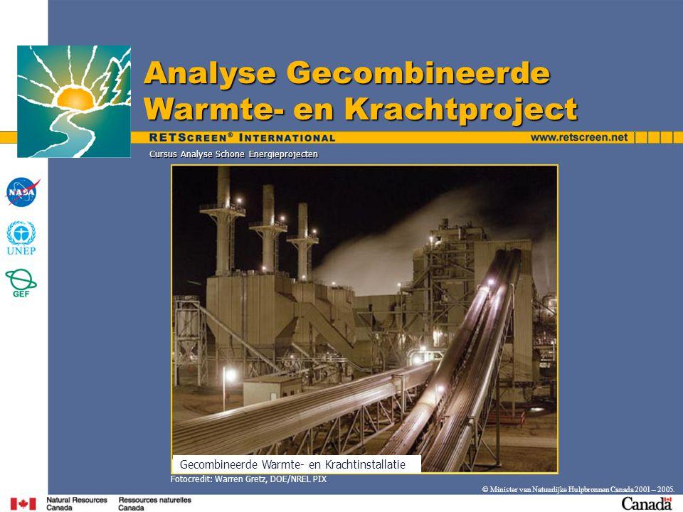 Cursus Analyse Schone Energieprojecten © Minister van Natuurlijke Hulpbronnen Canada 2001 – 2005.