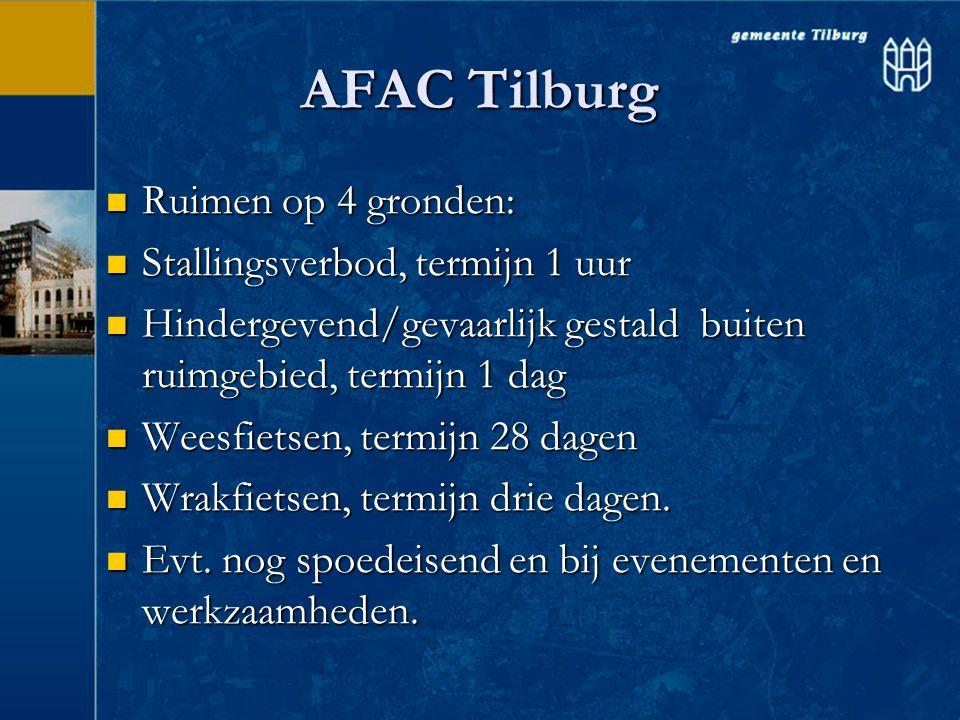 AFAC Tilburg  Ruimen op 4 gronden:  Stallingsverbod, termijn 1 uur  Hindergevend/gevaarlijk gestald buiten ruimgebied, termijn 1 dag  Weesfietsen,