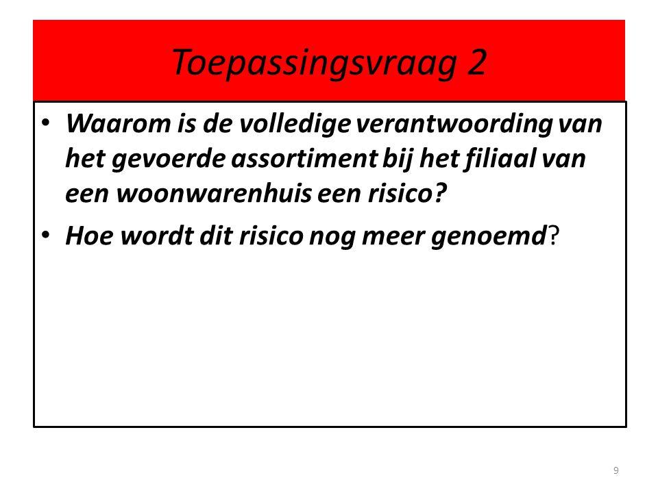 Toepassingsvraag 2 • Waarom is de volledige verantwoording van het gevoerde assortiment bij het filiaal van een woonwarenhuis een risico? • Hoe wordt