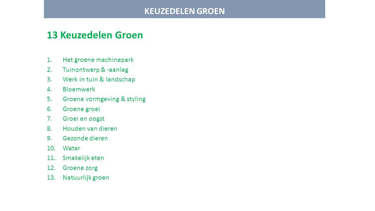 KEUZEDELEN GROEN 13 Keuzedelen Groen 1.Het groene machinepark 2.Tuinontwerp & -aanleg 3.Werk in tuin & landschap 4.Bloemwerk 5.Groene vormgeving & sty