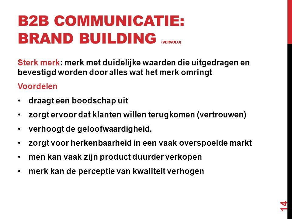 B2B COMMUNICATIE: BRAND BUILDING (VERVOLG) Sterk merk: merk met duidelijke waarden die uitgedragen en bevestigd worden door alles wat het merk omringt