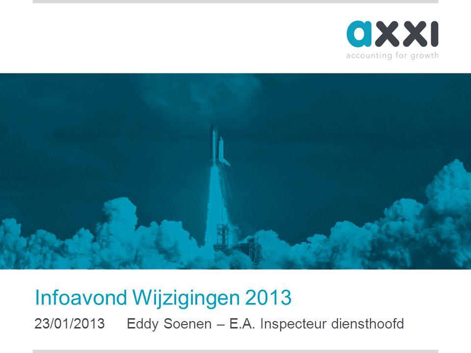 Infoavond Wijzigingen 2013 23/01/2013 Eddy Soenen – E.A. Inspecteur diensthoofd