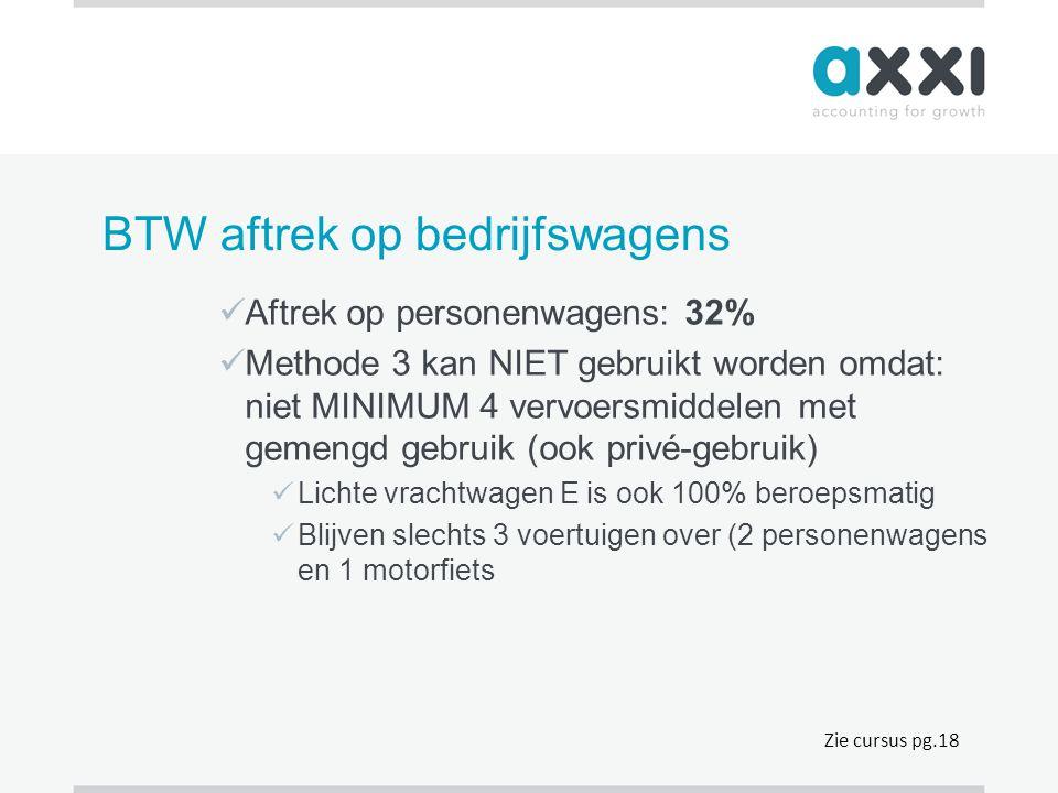 BTW aftrek op bedrijfswagens  Aftrek op personenwagens: 32%  Methode 3 kan NIET gebruikt worden omdat: niet MINIMUM 4 vervoersmiddelen met gemengd g