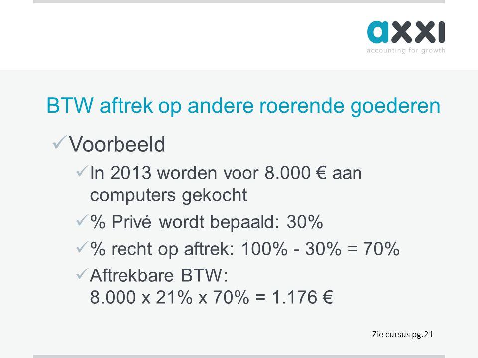 BTW aftrek op andere roerende goederen  Voorbeeld  In 2013 worden voor 8.000 € aan computers gekocht  % Privé wordt bepaald: 30%  % recht op aftre