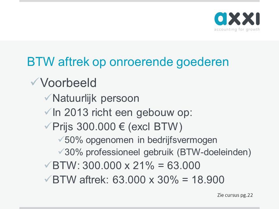 BTW aftrek op onroerende goederen  Voorbeeld  Natuurlijk persoon  In 2013 richt een gebouw op:  Prijs 300.000 € (excl BTW)  50% opgenomen in bedr