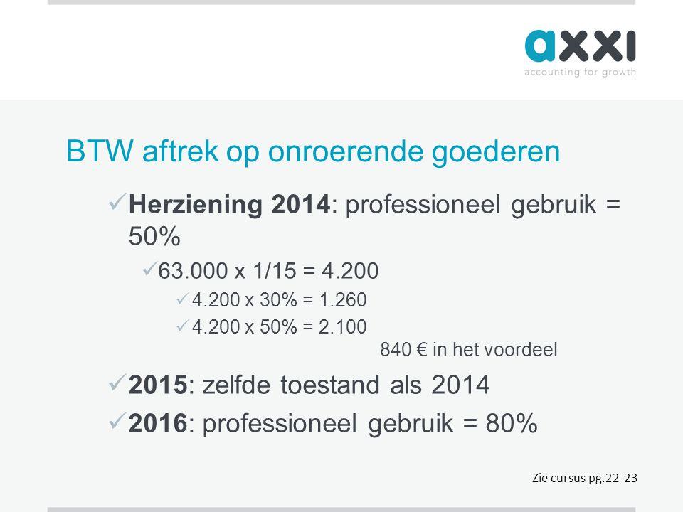 BTW aftrek op onroerende goederen  Herziening 2014: professioneel gebruik = 50%  63.000 x 1/15 = 4.200  4.200 x 30% = 1.260  4.200 x 50% = 2.100 8