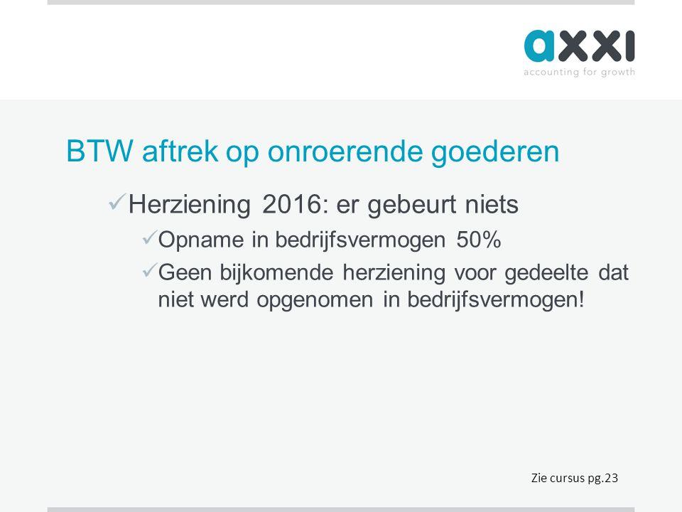 BTW aftrek op onroerende goederen  Herziening 2016: er gebeurt niets  Opname in bedrijfsvermogen 50%  Geen bijkomende herziening voor gedeelte dat