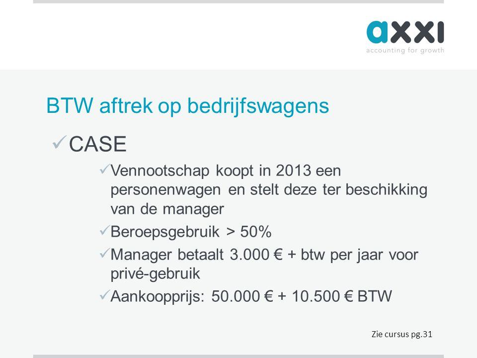 BTW aftrek op bedrijfswagens  CASE  Vennootschap koopt in 2013 een personenwagen en stelt deze ter beschikking van de manager  Beroepsgebruik > 50%