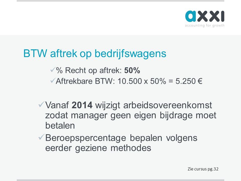 BTW aftrek op bedrijfswagens  % Recht op aftrek: 50%  Aftrekbare BTW: 10.500 x 50% = 5.250 €  Vanaf 2014 wijzigt arbeidsovereenkomst zodat manager