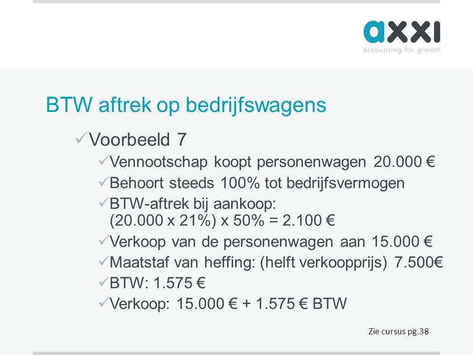 BTW aftrek op bedrijfswagens  Voorbeeld 7  Vennootschap koopt personenwagen 20.000 €  Behoort steeds 100% tot bedrijfsvermogen  BTW-aftrek bij aan