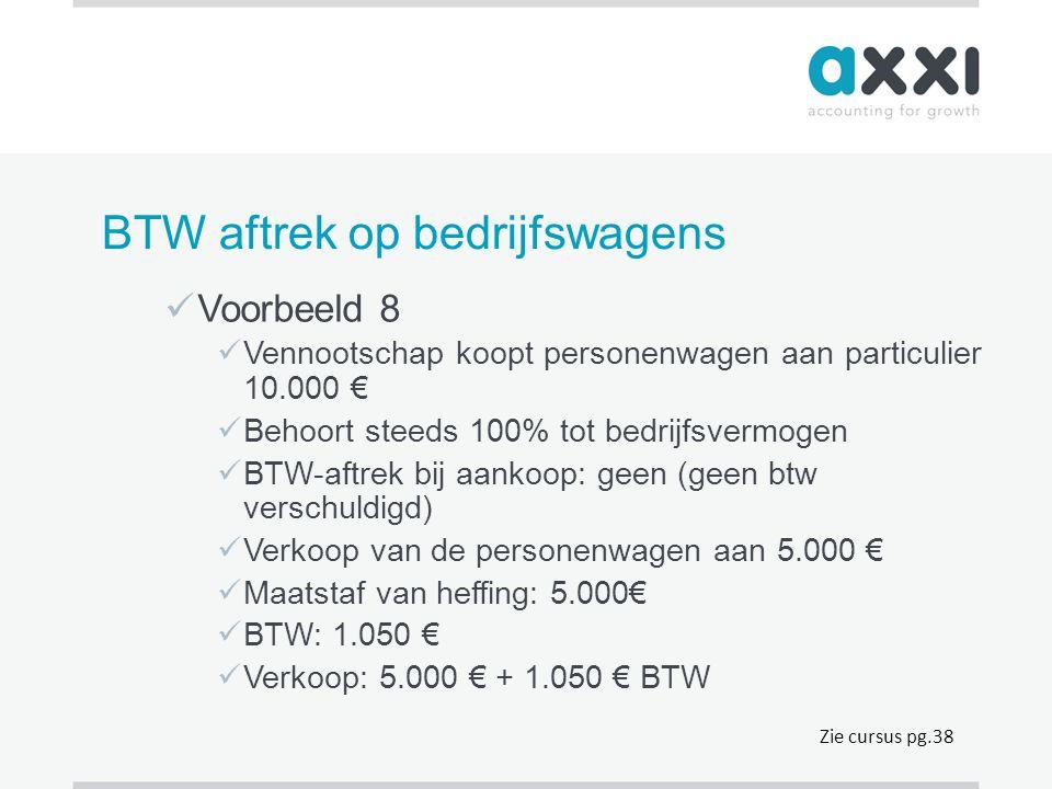 BTW aftrek op bedrijfswagens  Voorbeeld 8  Vennootschap koopt personenwagen aan particulier 10.000 €  Behoort steeds 100% tot bedrijfsvermogen  BT