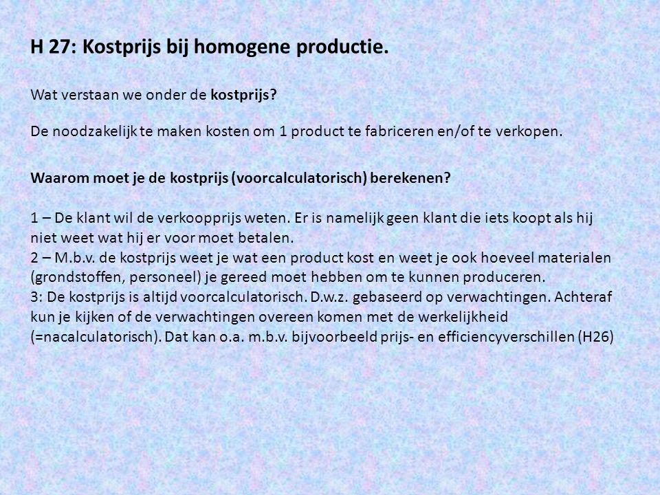 Wat verstaan we onder homogene productie.