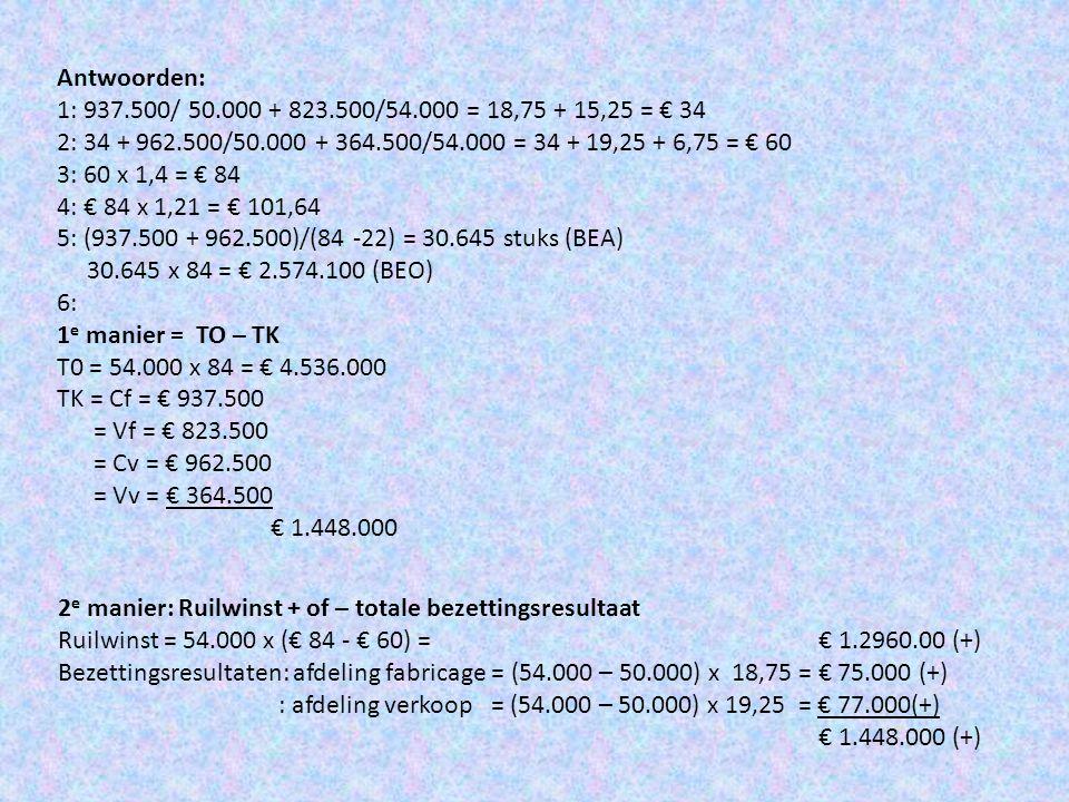 Formule ruilwinst = B a x (verkoopprijs – commerciële kostprijs) (aangeven positief of negatief) Formule bezettingsresultaten (zie ook H 26) • Afdeling fabricage = (B p – N p ) x (C f /N p ) (aangeven positief of negatief) • Afdeling verkoop = (B a – N a ) x (C v /N a ) (aangeven positief of negatief) • De 2 bezettingsresultaten bij elkaar opgeteld geven samen het totale bezettingsresultaat.
