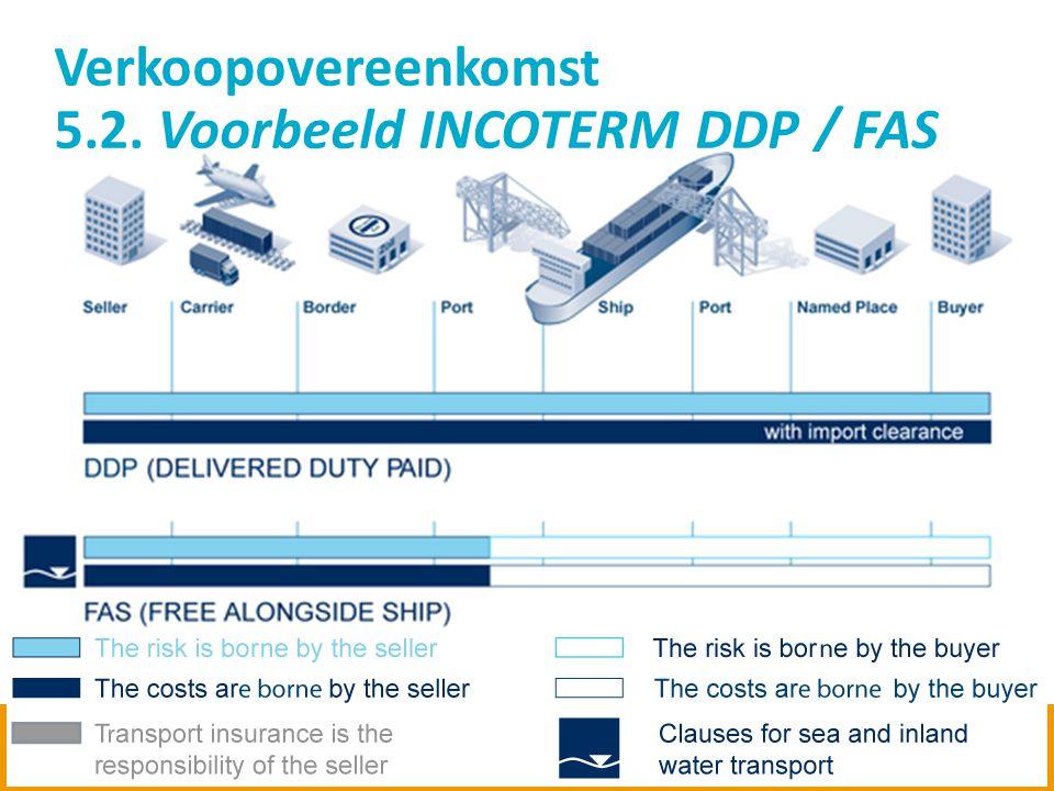13 Verkoopovereenkomst 5.2. Voorbeeld INCOTERM DDP / FAS