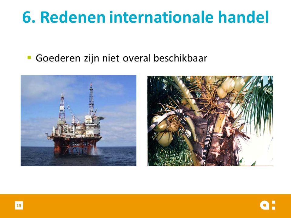  Goederen zijn niet overal beschikbaar 6. Redenen internationale handel 15