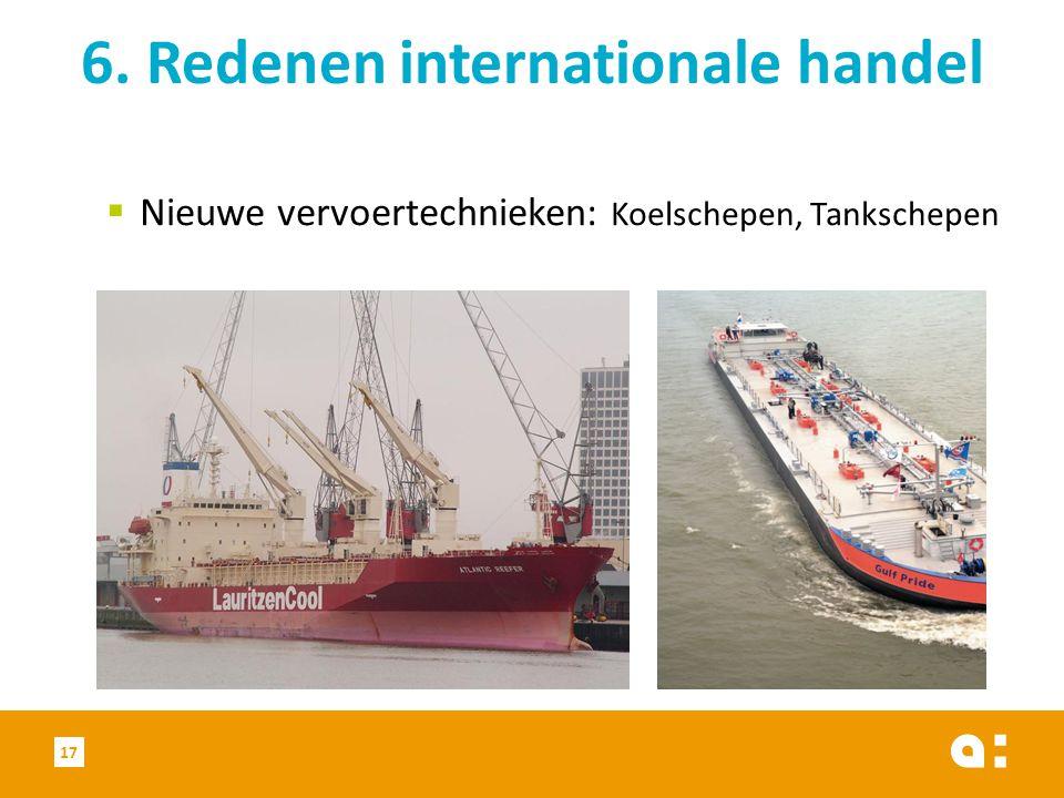  Nieuwe vervoertechnieken: Koelschepen, Tankschepen 6. Redenen internationale handel 17