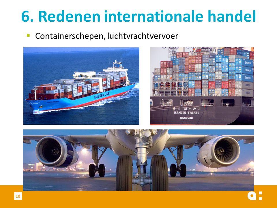  Containerschepen, luchtvrachtvervoer 6. Redenen internationale handel 18