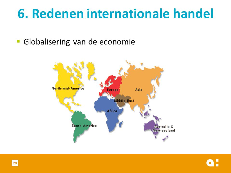  Globalisering van de economie 6. Redenen internationale handel 20