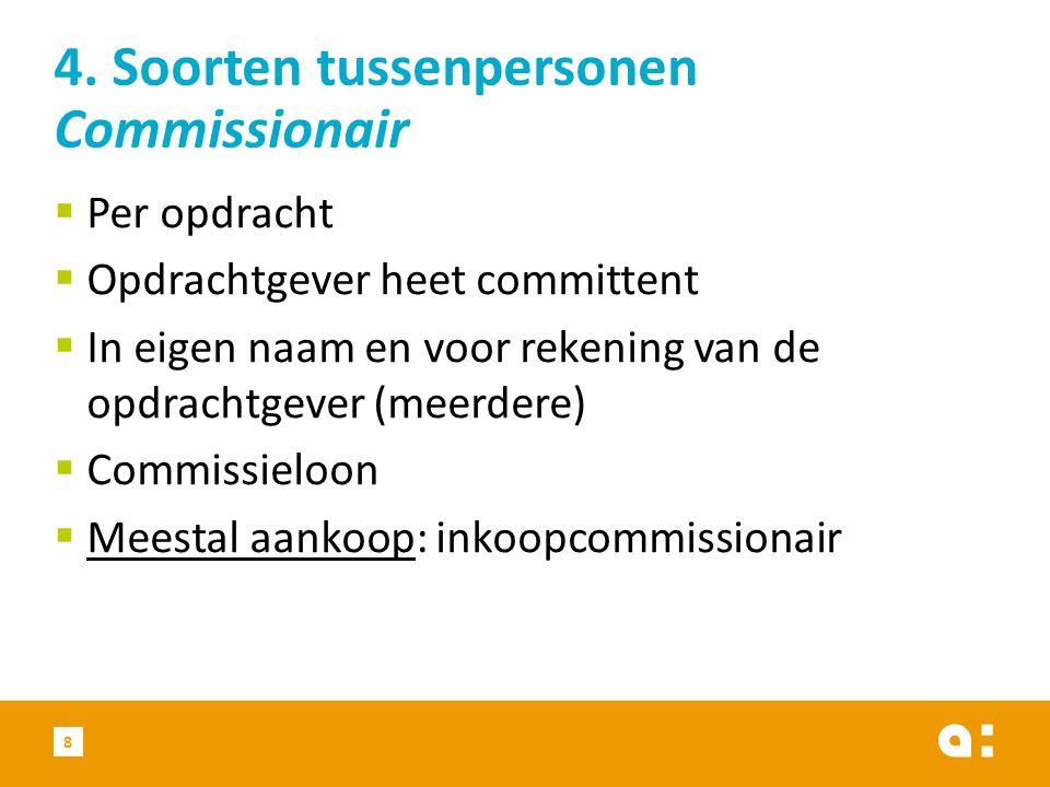  Per opdracht  Opdrachtgever heet committent  In eigen naam en voor rekening van de opdrachtgever (meerdere)  Commissieloon  Meestal aankoop: inkoopcommissionair 8 4.