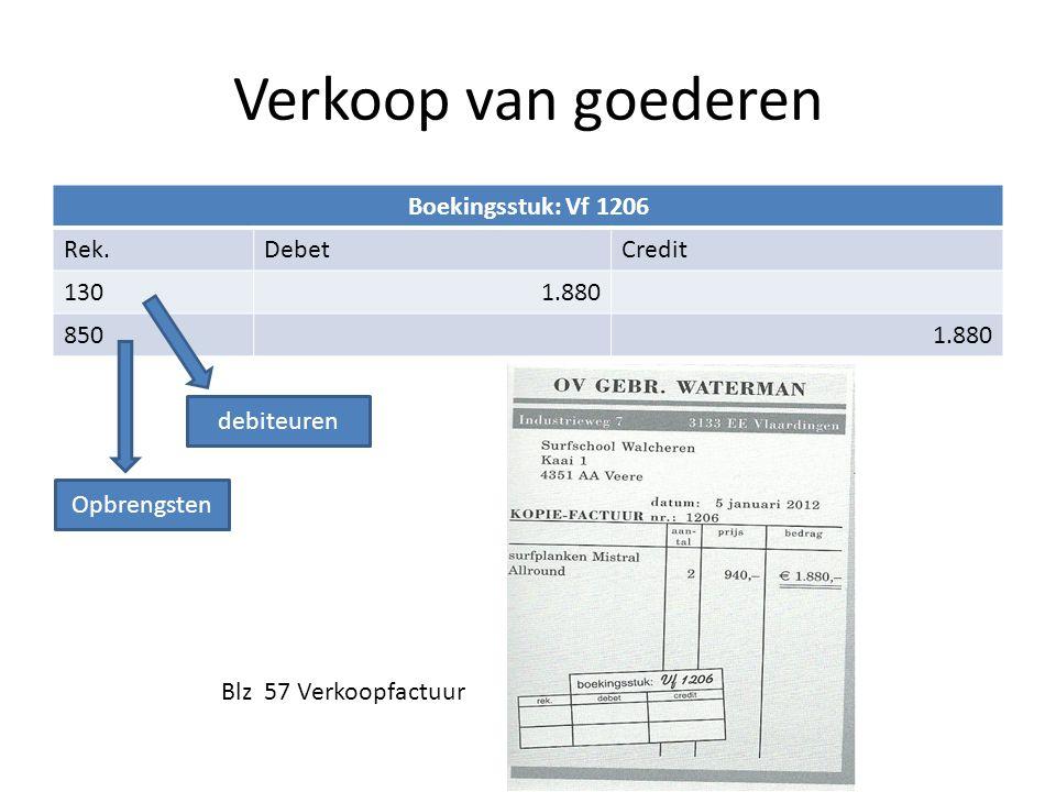 Verkoop van goederen Boekingsstuk: Vf 1206 Rek.DebetCredit 1301.880 8501.880 Blz 57 Verkoopfactuur debiteuren Opbrengsten