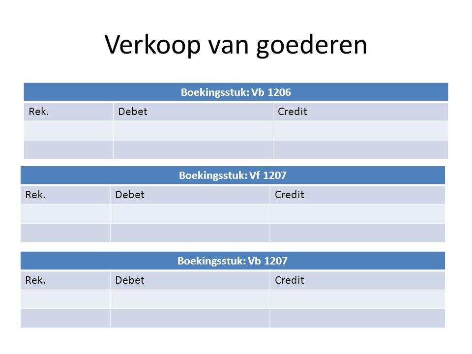 Verkoop van goederen Boekingsstuk: Vb 1206 Rek.DebetCredit Boekingsstuk: Vf 1207 Rek.DebetCredit Boekingsstuk: Vb 1207 Rek.DebetCredit