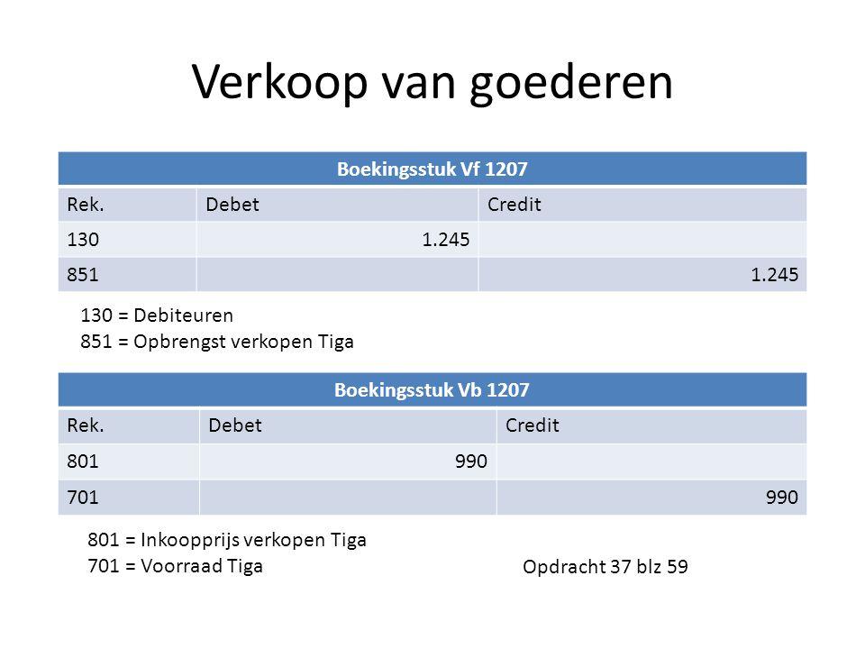 Verkoop van goederen Boekingsstuk Vf 1207 Rek.DebetCredit 1301.245 8511.245 Boekingsstuk Vb 1207 Rek.DebetCredit 801990 701990 130 = Debiteuren 851 =