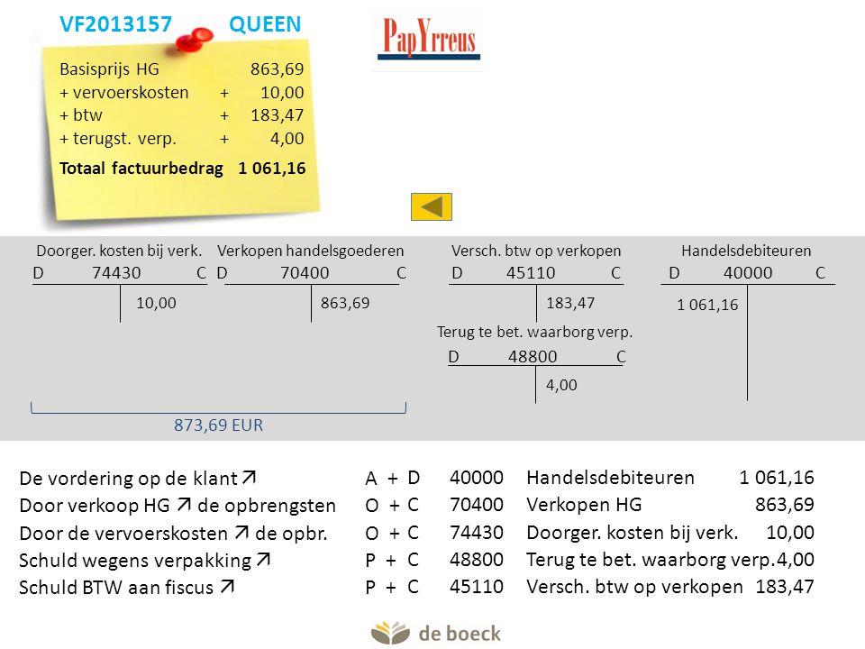 Verkopen handelsgoederen D 70400 C Doorger. kosten bij verk. D 74430 C 863,6910,00 873,69 EUR Handelsdebiteuren D 40000 C 1 061,16 Versch. btw op verk