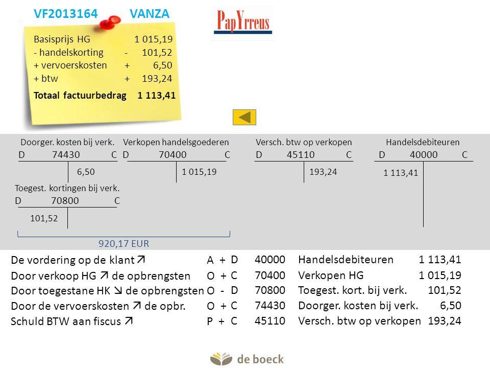 Verkopen handelsgoederen D 70400 C Doorger. kosten bij verk. D 74430 C 1 015,196,50 920,17 EUR Handelsdebiteuren D 40000 C 1 113,41 Versch. btw op ver