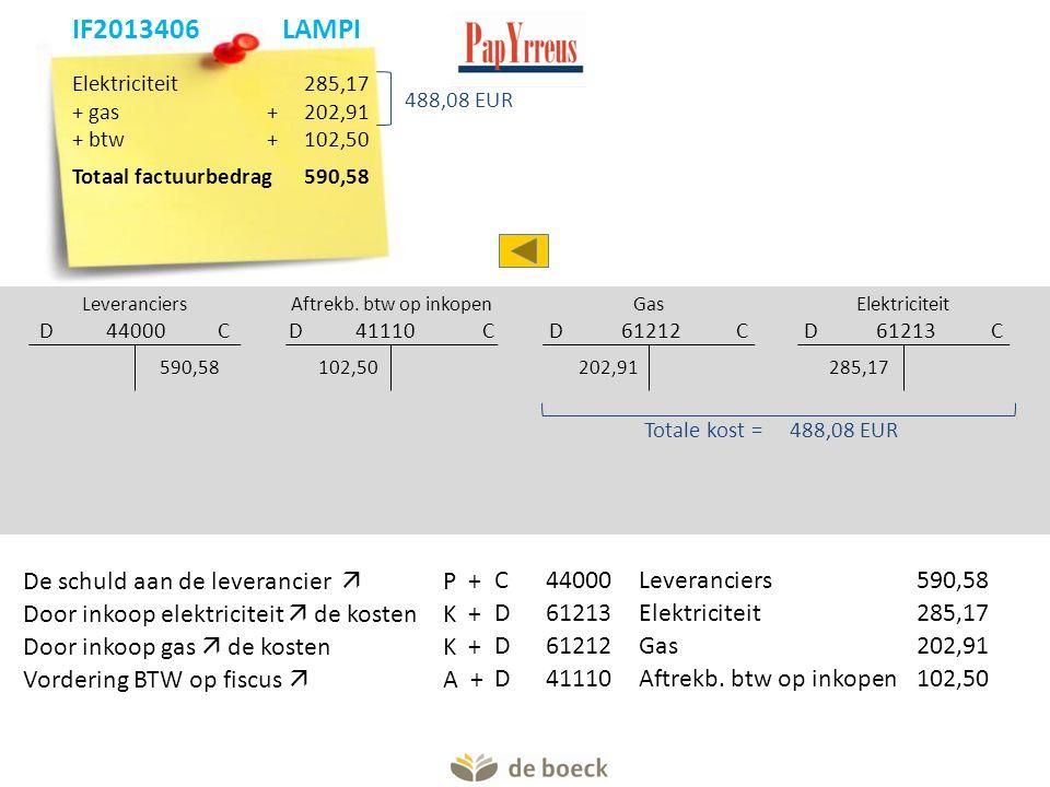 Elektriciteit 285,17 + gas+ 202,91 + btw+102,50 Totaal factuurbedrag 590,58 Leveranciers D 44000 C Aftrekb.