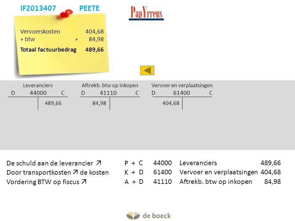 Vervoerskosten 404,68 + btw+84,98 Totaal factuurbedrag 489,66 Leveranciers D 44000 C Aftrekb.
