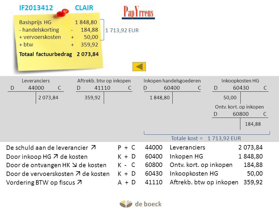 Basisprijs HG 1 848,80 - handelskorting- 184,88 + vervoerskosten+50,00 + btw+359,92 Totaal factuurbedrag 2 073,84 Leveranciers D 44000 C Aftrekb. btw