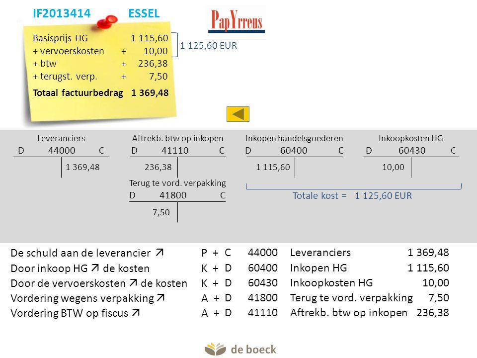 Basisprijs HG 1 115,60 + vervoerskosten+ 10,00 + btw+236,38 + terugst. verp.+7,50 Totaal factuurbedrag 1 369,48 Leveranciers D 44000 C Aftrekb. btw op