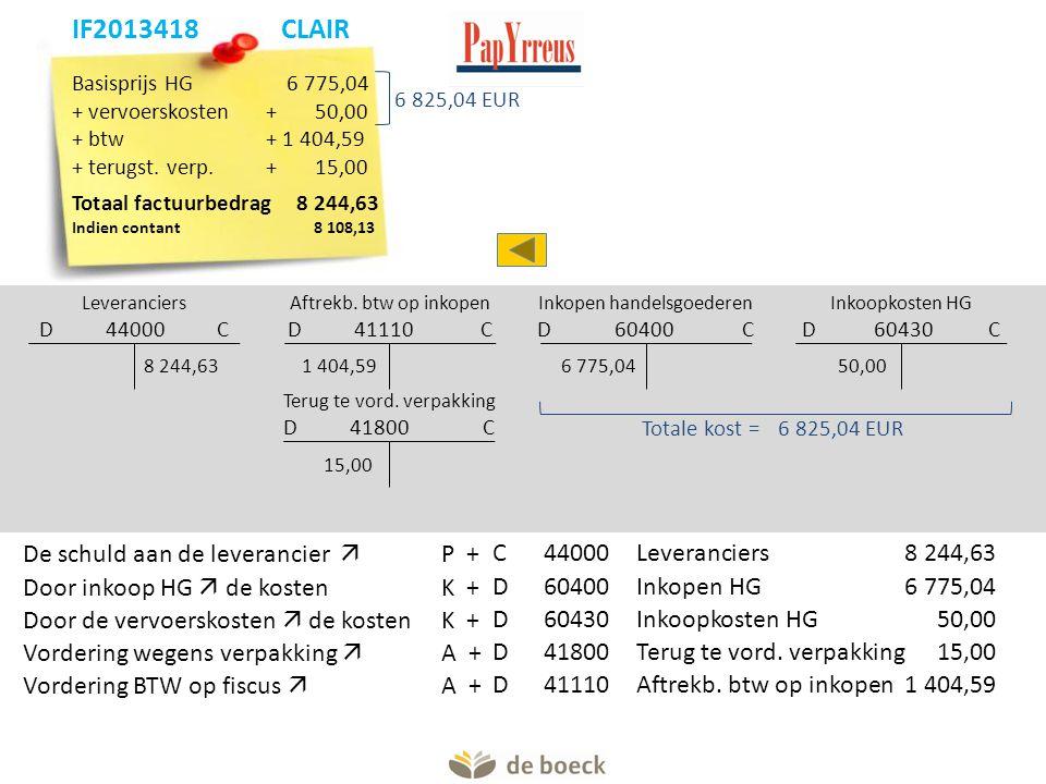 Basisprijs HG 6 775,04 + vervoerskosten+ 50,00 + btw+ 1 404,59 + terugst. verp.+15,00 Totaal factuurbedrag8 244,63 Indien contant 8 108,13 Leverancier