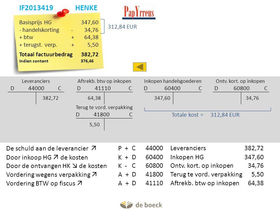 Basisprijs HG 347,60 - handelskorting- 34,76 + btw+64,38 + terugst. verp.+5,50 Totaal factuurbedrag 382,72 Indien contant 376,46 Leveranciers D 44000